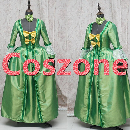 Green Rococo Bow Trimmed Dress