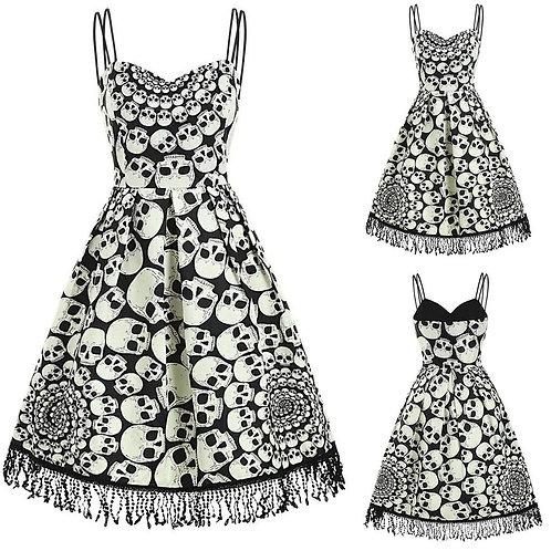 Sleeveless Retro Skull Pattern Party Dress