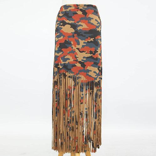 Camouflage Print Skirt With Fringe - Mocha
