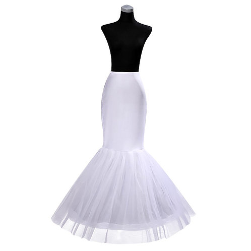White 1 Hoop Mermaid Trumpet Style Crinoline Petticoat