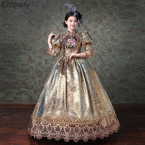 Rococo Champagne Satin French Court Gown