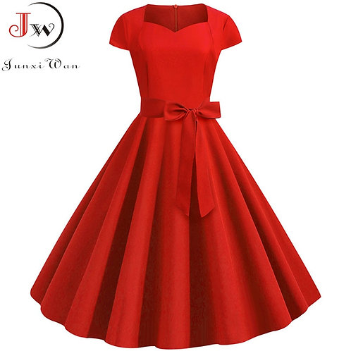 """Jessica"" Retro Solid Swing Dress"
