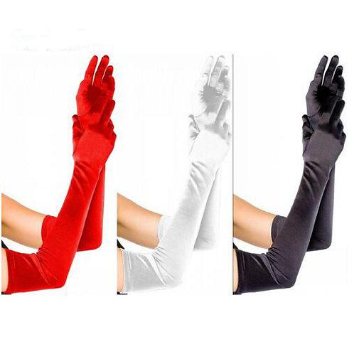 Elbow Length Long Satin Gloves