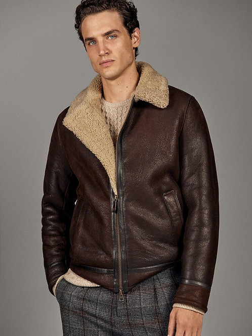 Retro Sheerling Lined Leather Jacket