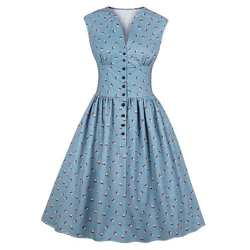 50s Retro Sleeveless High Waist Dress