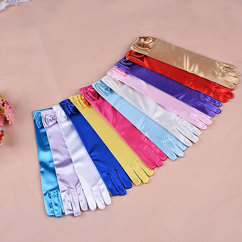 Youth Long Satin Princess Gloves