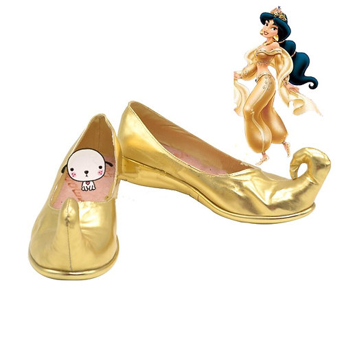 Adult Gold Curled-Toe Princess Jasmine Cosplay Costume Shoes