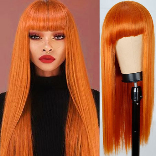 FEELSI Long Straight Wig With Bangs