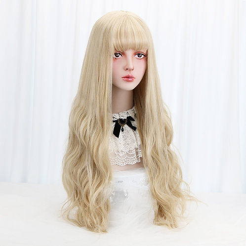 """32"""" Long Wavy Blonde Cosplay Costume Wig With Bangs"""