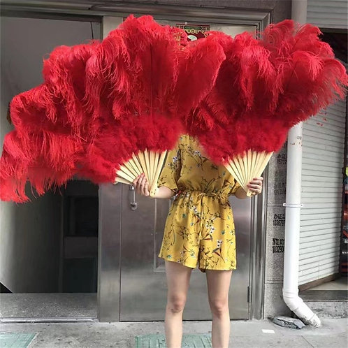 High Quality Ostrich Feather Fan - 11 Colors