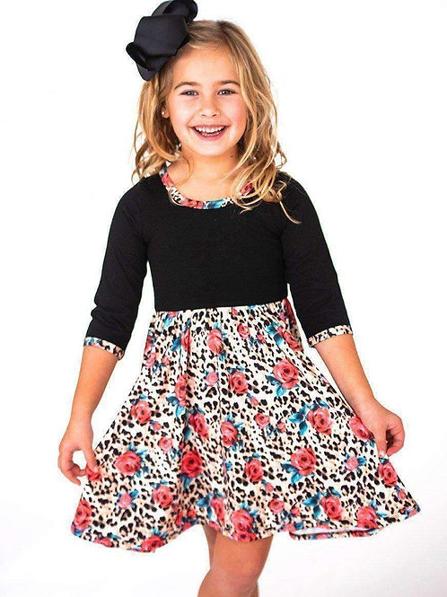 Leopard & Roses Twirl Hugs Dress