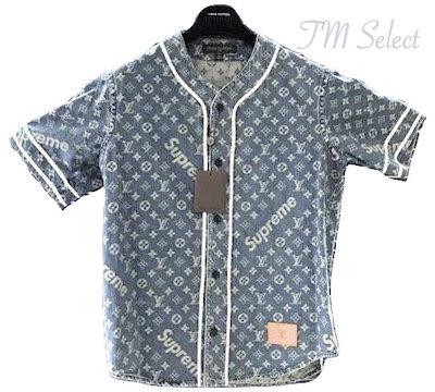 Supreme x Louis Vuitton モノグラムデニム ベースボールシャツ