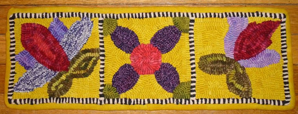 """""""Quilting Day"""" designed by Donna Bennett, hooked by Heidi Kramer"""