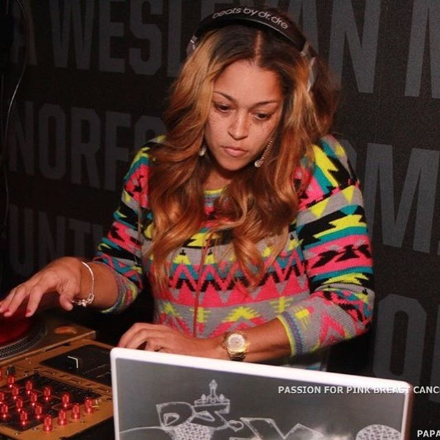 #RP _kimwimbishpr #FBF 🎀🎀🎀 The Queen _djdirtydi mixing it up last year at the #PassionForPink eve