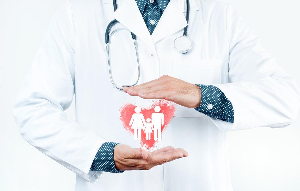 Male Doctor is showing heart shape. Fami