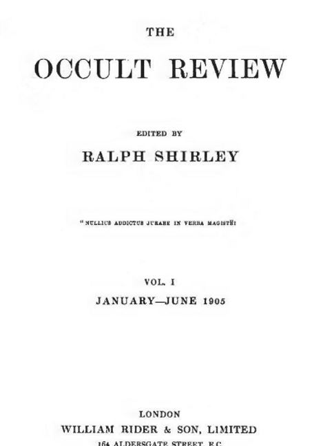 1905-1921 The Occult Review  34 Volumes