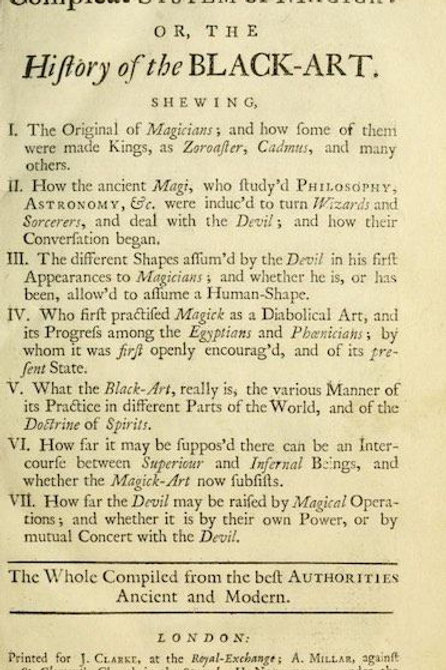 A Compleat System Of Magick or The History Of The Black art - D Defoe 1729