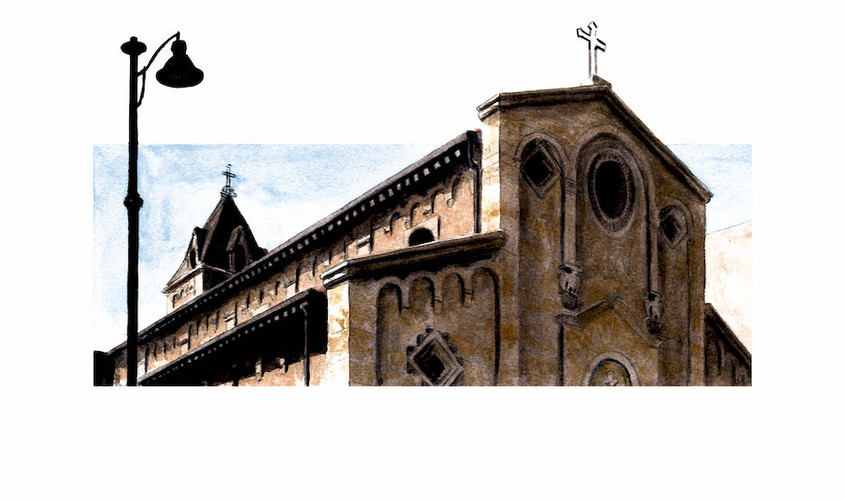 Via bosa, Chiesa di San Vincenzo de Paoli, Acquerello su carta, 27x13 cm, 2012