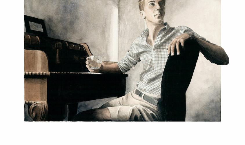 Federico alla scrivania, Acquerello su carta, 40x30 cm, 2012