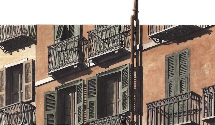 Balconi sul corso, Acquerello su carta, 50x25 cm, 2011