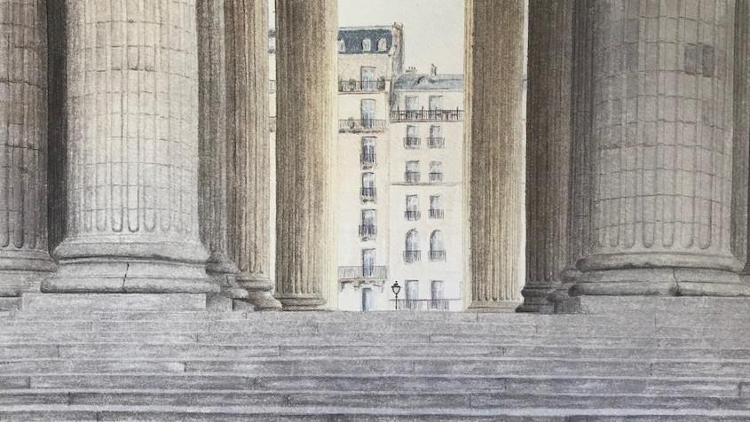 Panthéon, Acquerello su carta, 42x20,5 cm, 2018