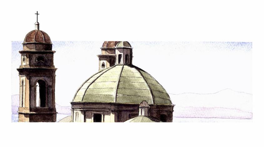 Cagliari, Sant'Anna, Acquerello su carta, 27x10 cm, 2012