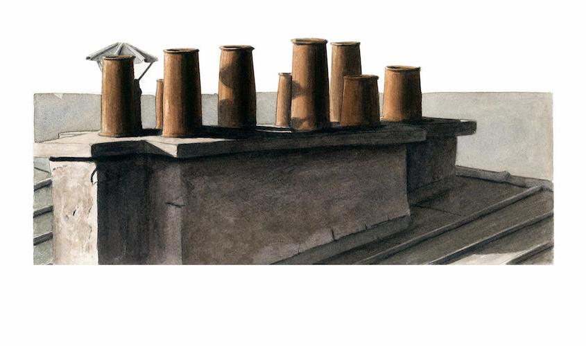 Toits et cheminées, Acquerello su carta, 30x13 cm, 2012