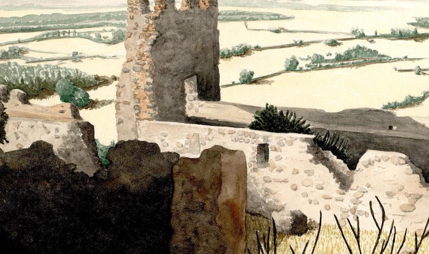 Camminamento e torre. Acquerello su carta, 35x25 cm