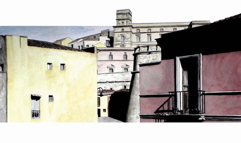 Vista su Castello dal Convitto, Acquerello su carta, 65x30 cm, 2013