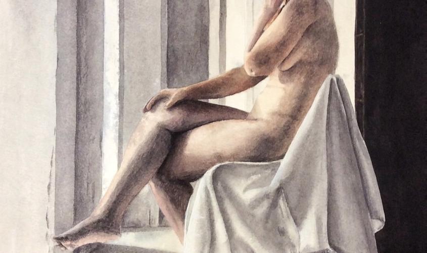 A nudo, Guazzo, 35x54 cm, 2018