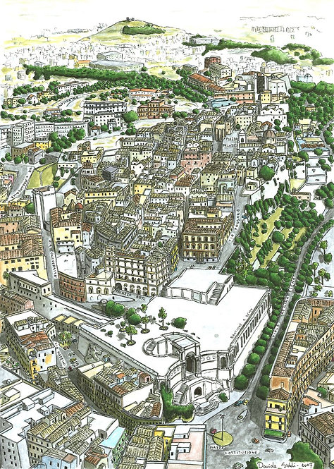 (stampa di) Veduta aerea di Cagliari