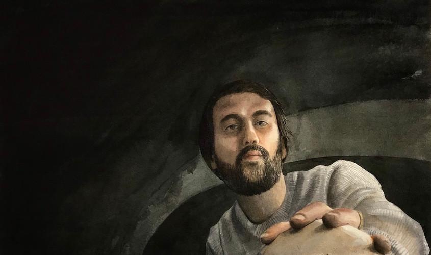 Selfportrait with skull, Acquerello su carta, 50x50 cm, 2020