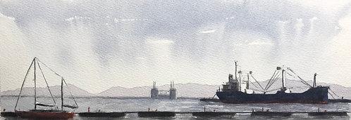 Barca rossa e mercantile