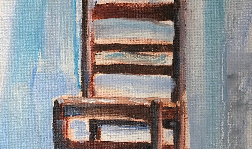Chaise 3, olio su cartone telato, 10x15 cm, 2018