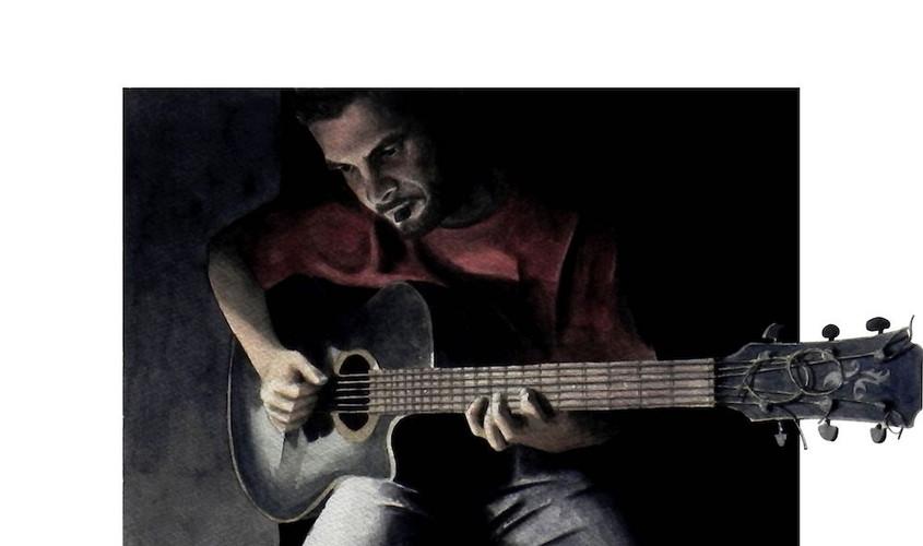 Nicola che suona, Acquerello su carta, 31x20 cm,  2013