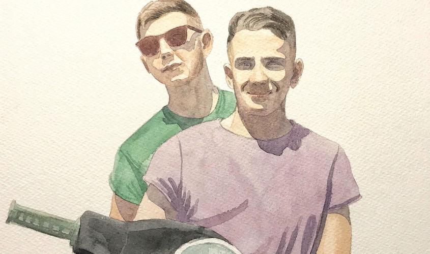 Francesco e Cristiano, Acquerello su carta, 27x27 cm, 2019