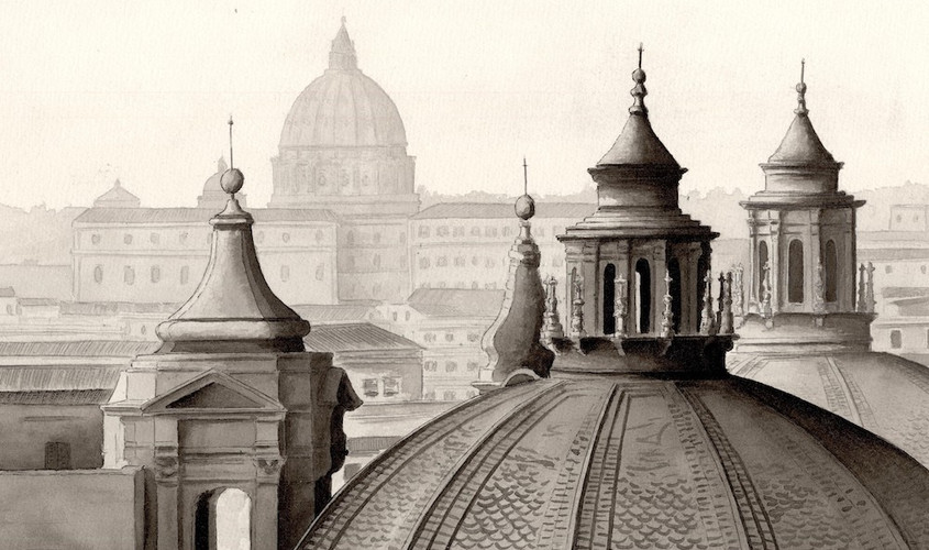 Cupole e croci su Roma, China acquerellata, 40x28 cm, 2009