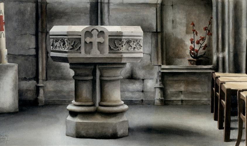 Prière à l'Absent, Acquerello su carta, 65x35 cm, 2013