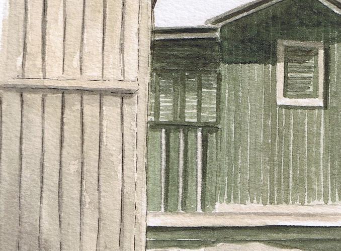 Casotto 1, Acquerello su carta, 12x25 cm, 2009