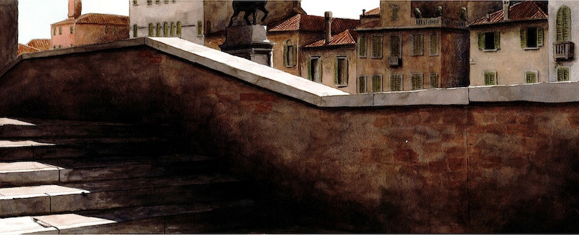 2011. Venezia, il ponte, Acquerello su carta, 60x20 cm, 2011
