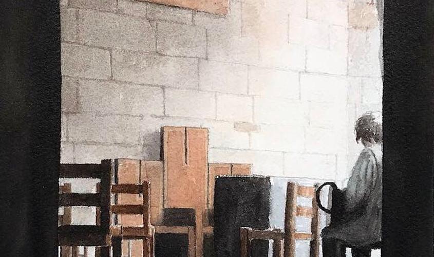 En prière, Acquerello su carta, 23x31 cm, 2019
