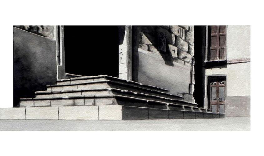 Scalinata Santa Croce. Acquerello su carta, 45x18 cm, 2012
