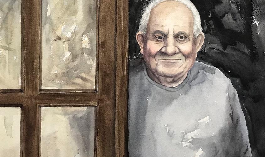 Tziu Giovanni, Acquerello su carta, 40x40 cm, 2019