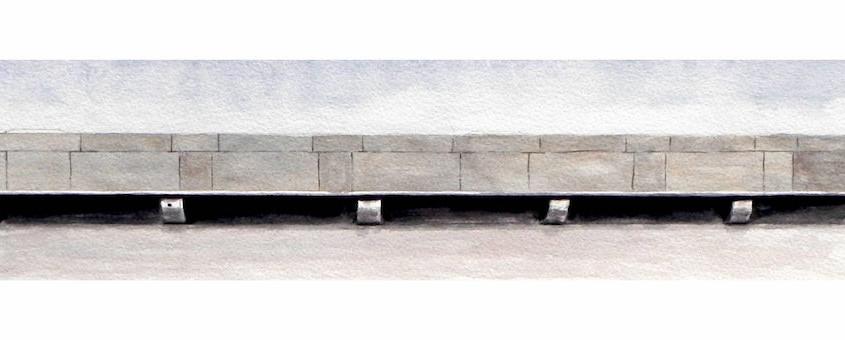 Seduta del bastione di Saint-Remy, Acquerello su carta,  40x10 cm, 2012