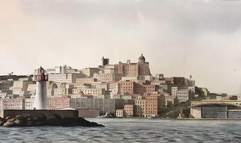 Paesaggio con faro, Acquerello su carta, 50x28 cm, 2019