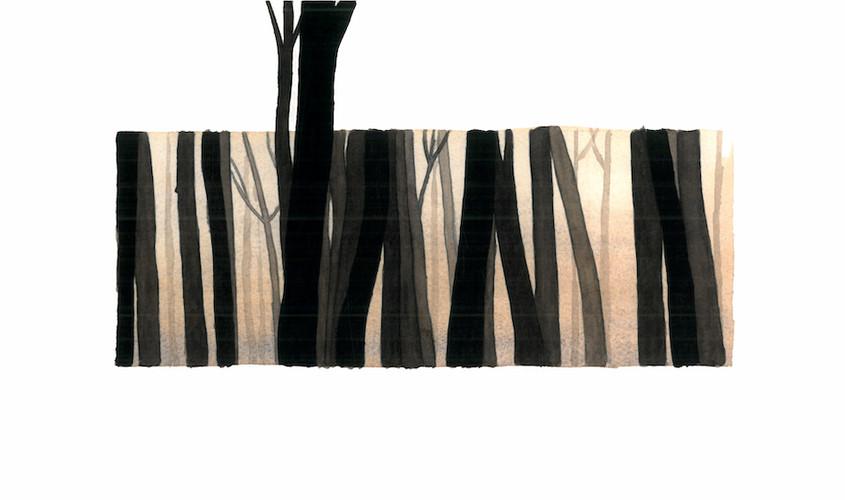 Foret IV, Acquerello su carta, 30x14 cm, 2012