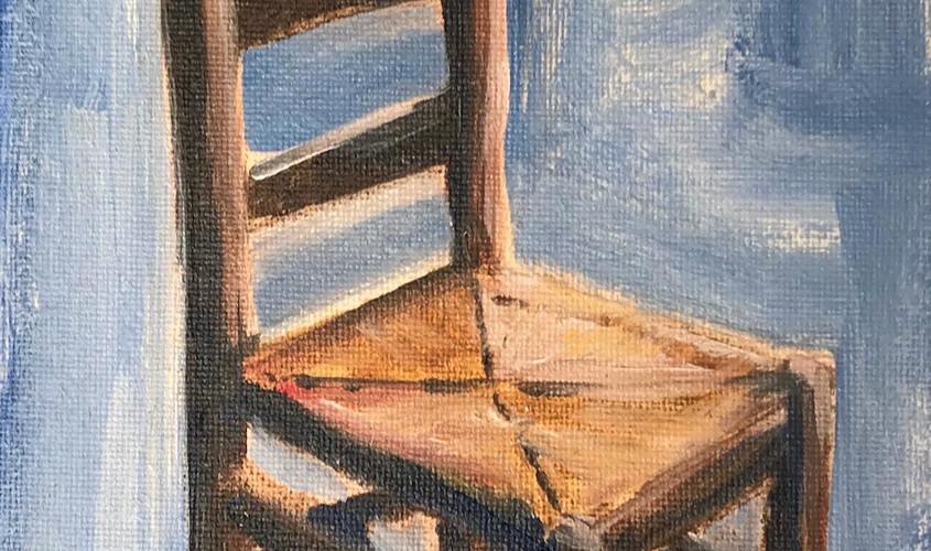 Chaise 2, Olio su cartone telato, 10x15 cm, 2018