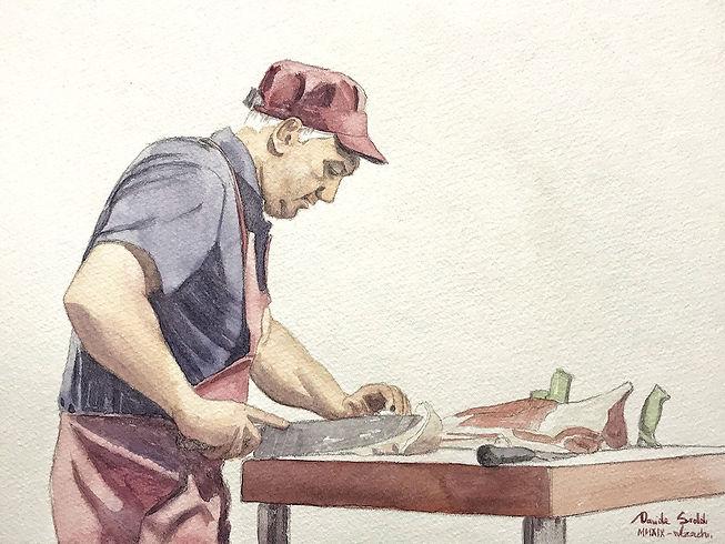 Acquerello Alzachinesi in macelleria