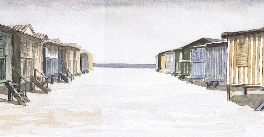 Casotti Poetto 3, Acquerello su carta, 30x10 cm, 2009