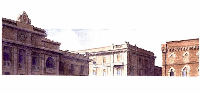 Cagliari, piazza Matteotti, Acquerello su carta, 30x18 cm, 2012